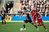 Antoine Hoppenot (29) of the Philadelphia Union is chased by Reggie Lambe (19) of Toronto FC. Toronto FC and the Philadelphia Union played to a 1-1 tie during a Major League Soccer (MLS) match at PPL Park in Chester, PA, on April13, 2013.