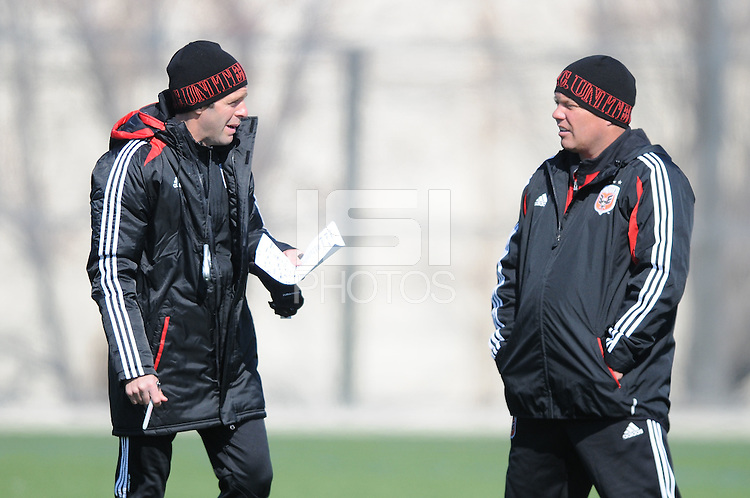 D.C. United Head Coach Ben Olsen with assistant Chad Ashton. During the first training session after returning from Arizona, at Long Bridge Park in Arlington Virginia, Monday February 20, 2012.