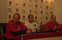 02/02/2004 England Rugby Press Conference. Pennyhill Park, Bagshot, Surrey. England Capt press conference.left Andy ROBINSON, Lawrence Dallaglio and Clive Woodward face the press..   [Mandatory Credit, Peter Spurrier/ Intersport Images].[Mandatory Credit, Peter Spurier/ Intersport Images].