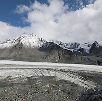 Landscape of Gulkana Glacier in the Alaska Range mountains, Interior, Alaska.