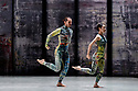 Rambert presents RAMBERT EVENT, by Merce Cunningham, at Sadler's Wells. Choreography by Merce Cunningham, staging by Jeannie Steele, Music by Philip Selway, Quinta and Adem Ilhan, designs inspired by Gerhard Richter's 'Cage' series, performed by Rambert. The dancers are: Guillaume Queau, Soojin Choi