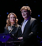 Nell Benjamin and Laurence O'Keefe on stage at the Dramatists Guild Foundation 2018 dgf: gala at the Manhattan Center Ballroom on November 12, 2018 in New York City.