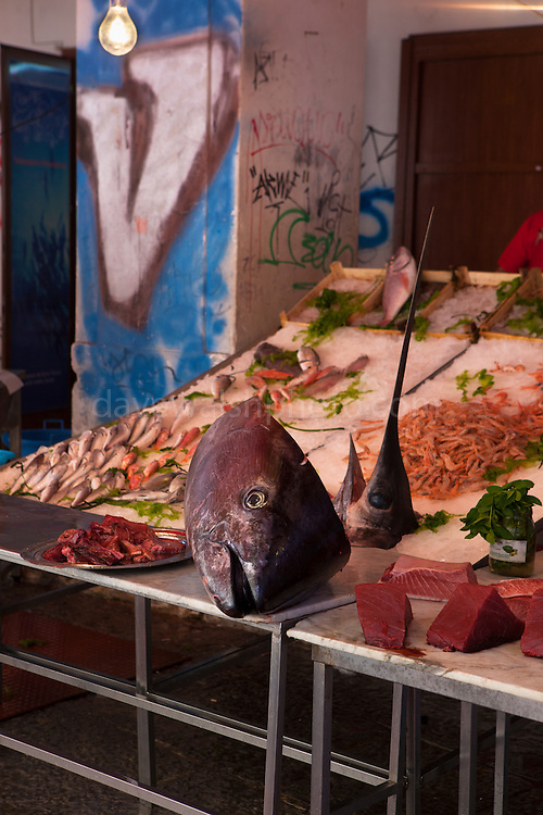 Huge tuna and swordfish heads in a fish market in  Vicolo Mezzani, Palermo, Italy. (c) davewalshphoto.com