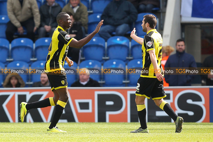 Lucas Akins of Burton Albion (L) scores the first goal for his team and celebrates during Colchester United vs Burton Albion, Sky Bet League 1 Football at the Weston Homes Community Stadium on 23rd April 2016