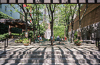 Greenacre Park, a vest pocket park on East 51 St. in Midtown in New York on Saturday, May 28, 2016. The small park is a privately owned public space (POPS). (© Richard B. Levine)