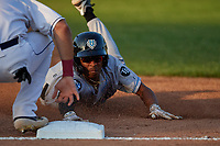 Hudson Valley Renegades Greg Jones (2) slides safely into third base after hitting a triple during a NY-Penn League game against the Mahoning Valley Scrappers on July 15, 2019 at Eastwood Field in Niles, Ohio.  Mahoning Valley defeated Hudson Valley 6-5.  (Mike Janes/Four Seam Images)