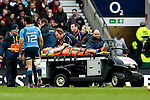 England's Mike Brown on a stretcher and Italy's Andrea Masi, who clashed with Brown, looks on to see if he is ok - RBS 6 Nations - England vs Italy - Twickenham Stadium - London - 14/02/2015 - Pic Charlie Forgham-Bailey/Sportimage