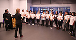 Julianne Merrill and Christine Riley with The Camp Broadway Kids Ensemble in rehearsal for a medley of songs about Santa during the pre-show of The Radio City Christmas Spectacular at Open Jar Studios on November 29, 2019 in New York City.