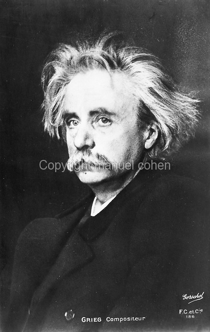 Edvard Grieg, 1843-1907, Norwegian composer of Romantic music, c. 1890, photograph by Charles Gerschel, 1871-1948. Copyright © Collection Particuliere Tropmi / Manuel Cohen