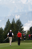 Thomas Bjorn (DEN) talks to Martin Kaymer (GER) on the 17th during the 1st day of the Omega European Masters, Crans-Sur-Sierre, Crans Montana, Switzerland..Picture: Golffile/Fran Caffrey..