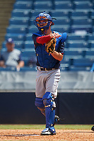 Catcher Patrick Bailey (37) of Wesleyan Christian Academy in Greensboro, North Carolina playing for the Cleveland Indians scout team during the East Coast Pro Showcase on August 3, 2016 at George M. Steinbrenner Field in Tampa, Florida.  (Mike Janes/Four Seam Images)