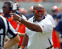 Virginia head coach Mike London  reacts to a play during the first half of an NCAA football game against Penn State Saturday Sept. 8, 2012 in Charlottesville, VA. Photo/Andrew Shurtleff
