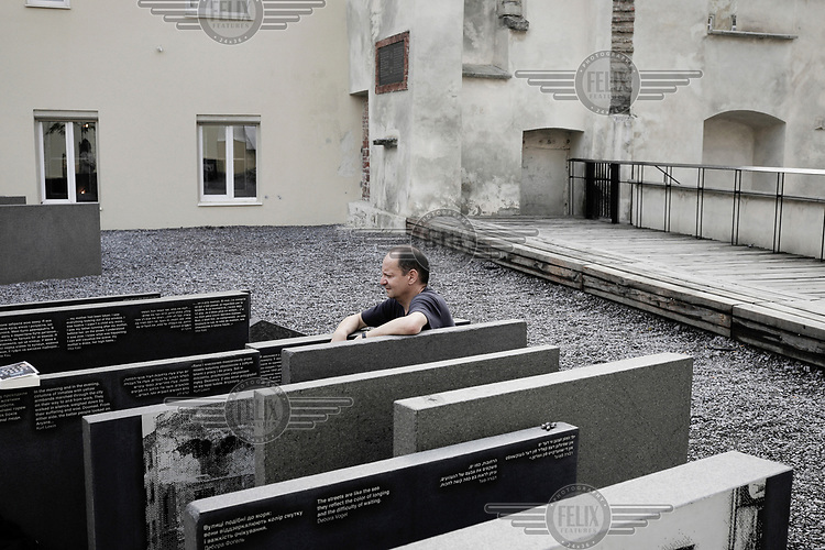 Philippe Sands, the writer of East West Street, at the site in central Lviv where the remnants of the city's synagogue are commemorated with a memorial. Sands wrote most of his 2016 book in Lviv which is also where the book's main protagonist, Hersch Lauterpacht lived.