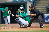 Home plate umpire Olindo Mattia stands behind Notre Dame Fighting Irish catcher Ryan Lidge (36) during the game against the Florida State Seminoles in Game Four of the 2017 ACC Baseball Championship at Louisville Slugger Field on May 24, 2017 in Louisville, Kentucky. The Seminoles walked-off the Fighting Irish 5-3 in 12 innings. (Brian Westerholt/Four Seam Images)