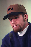 Green Bay Packers quarterback Brett Favre addresses the press after the Packers 38-10 win over the Minnesota Vikings on December 22, 1996.