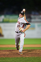 Aberdeen Ironbirds relief pitcher Steven Klimek (28) delivers a pitch during a game against the Batavia Muckdogs on July 14, 2016 at Dwyer Stadium in Batavia, New York.  Aberdeen defeated Batavia 8-2. (Mike Janes/Four Seam Images)