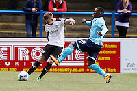 Jon Paul Pittman of Grimsby Town (right) during the Vanarama National League match between Dover Athletic and Grimsby Town at the Crabble Athletic Ground, Dover, England on 16 April 2016. Photo by Tony Fowles/PRiME Media Images.