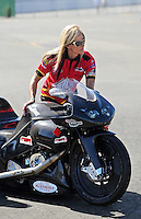 Jul. 18, 2010; Sonoma, CA, USA; NHRA pro stock motorcycle rider Angie Smith during the Fram Autolite Nationals at Infineon Raceway. Mandatory Credit: Mark J. Rebilas-