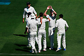 22nd March 2018, Eden Park, Auckland, New Zealand; International Test Cricket, New Zealand versus England, day 1;  The Black Caps celebrate the wicket of Alastair Cook off the bowling of Trent Boult