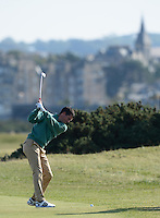 Tim Henman hits an approach during Round 3 of the 2015 Alfred Dunhill Links Championship at the Old Course, St Andrews, in Fife, Scotland on 3/10/15.<br /> Picture: Richard Martin-Roberts | Golffile