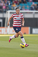 February 9, 2013:    USA Women's National Team forward Amy Wambach (20)brings the ball up field during action between the USA Women's National Team and Scotland at EverBank Field in Jacksonville, Florida.  USA defeated Scotland 4-1............