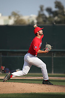 Cameron Ming (47) of the Arizona Wildcats pitches against the UCLA Bruins at Jackie Robinson Stadium on March 19, 2017 in Los Angeles, California. UCLA defeated Arizona, 8-7. (Larry Goren/Four Seam Images)