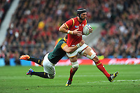 Luke Charteris of Wales is tackled by Duane Vermeulen of South Africa during Match 41 of the Rugby World Cup 2015 between South Africa and Wales - 17/10/2015 - Twickenham Stadium, London<br /> Mandatory Credit: Rob Munro/Stewart Communications