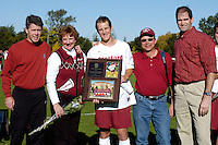 31 October 2004: Bret Simon and Matt Janusz and Earl Koberlein during Stanford's 2-0 win over Oregon State at Maloney Field in Stanford, CA.<br />