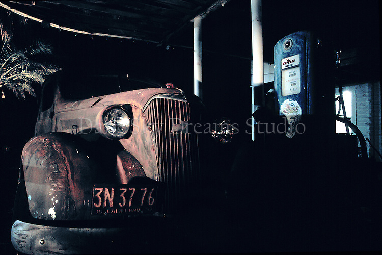 Nighttime at the filling station museum in Shoshone, California