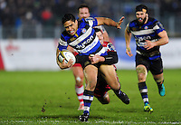 Ben Tapuai of Bath Rugby is tackled in possession. Anglo-Welsh Cup match, between Bath Rugby and Gloucester Rugby on January 27, 2017 at the Recreation Ground in Bath, England. Photo by: Patrick Khachfe / Onside Images