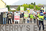 Protesters at the Business briefing on the Stability Treaty in the Dromhall Hotel, Killarney, on Friday