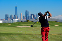 Phil Mickelson (USA) warms up before round 4 Singles of the 2017 President's Cup, Liberty National Golf Club, Jersey City, New Jersey, USA. 10/1/2017. <br /> Picture: Golffile | Ken Murray<br /> <br /> All photo usage must carry mandatory copyright credit (&copy; Golffile | Ken Murray)