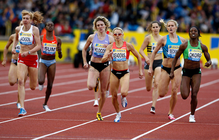 Photo: Richard Lane/Richard Lane Photography. Aviva Birmingham Grand Prix. 10/07/2011. Great Britain's Jenny Meadows powers home to win the womens 800m.