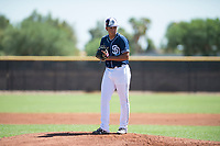 San Diego Padres starting pitcher Luarbert Arias (43) gets ready to deliver a pitch during an Instructional League game against the Milwaukee Brewers at Peoria Sports Complex on September 21, 2018 in Peoria, Arizona. (Zachary Lucy/Four Seam Images)