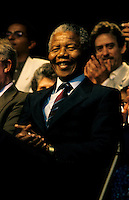 Montreal (Qc) CANADA, June 20, 1990 File Photo.<br /> <br /> South African opposition leader Nelson Mandela (R) before  his speech in front the black community in Montreal (Quebec, Canada) on June 20, 1990, <br /> <br /> Photo (c) 1990, by Pierre Roussel - IMAGES DISTRIBUTION