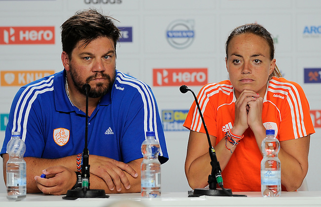 The Hague, Netherlands, June 12: Head coach Max Caldas of The Netherlands and Maartje Paumen #17 of The Netherlands during press conference after the field hockey semi-final match (Women) between The Netherlands and Argentina on June 12, 2014 during the World Cup 2014 at Kyocera Stadium in The Hague, Netherlands. Final score 4-0 (3-0)  (Photo by Dirk Markgraf / www.265-images.com) *** Local caption ***