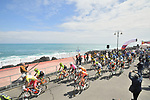 The start of Stage 4 of Il Giro di Sicilia 2019 running 119km from Giardini Naxos to Mount Etna (Nicolosi), Italy. 6th April 2019.<br /> Picture: LaPresse/Massimo Paolone | Cyclefile<br /> <br /> All photos usage must carry mandatory copyright credit (&copy; Cyclefile | LaPresse/Massimo Paolone)