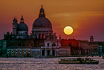 Basilica San Marco silhouette against sunset, Venice, italy