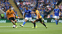 Leicester City's Youri Tielemans battles with Wolverhampton Wanderers' Raul Jimenez (left) and Ruben Neves <br /> <br /> Photographer Stephen White/CameraSport<br /> <br /> The Premier League - Leicester City v Wolverhampton Wanderers - Sunday 11th August 2019 - King Power Stadium - Leicester<br /> <br /> World Copyright © 2019 CameraSport. All rights reserved. 43 Linden Ave. Countesthorpe. Leicester. England. LE8 5PG - Tel: +44 (0) 116 277 4147 - admin@camerasport.com - www.camerasport.com
