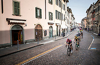 peloton led by Jonathan Castroviejo (ESP/Ineos) rolling through town<br /> <br /> 113th Il Lombardia 2019 (1.UWT)<br /> 1 day race from Bergamo to Como (ITA/243km)<br /> <br /> ©kramon