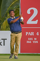 Abid HUSSAIN (FIJ) watches his tee shot on 2 during Rd 1 of the Asia-Pacific Amateur Championship, Sentosa Golf Club, Singapore. 10/4/2018.<br /> Picture: Golffile | Ken Murray<br /> <br /> <br /> All photo usage must carry mandatory copyright credit (&copy; Golffile | Ken Murray)