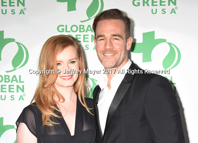 LOS ANGELES, CA - FEBRUARY 22: Actor James Van Der Beek (R) and producer Kimberly Van Der Beek arrive at the 14th Annual Global Green Pre-Oscar Gala at TAO Hollywood on February 22, 2017 in Los Angeles, California.