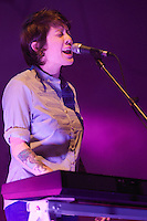 Tegan and Sara, an indie rock group consisting of twin Canadian singer-songwriters Tegan Quin and Sara Quin, kick off their North American tour during the first of two sold-out shows, Tuesday, Jan. 5, 2010, at the Orpheum Theater in Vancouver. (Scott Alexander/pressphotointl.com)