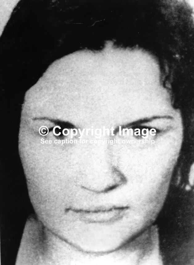 Roisin McNearney, 18 years, typist, Forte Street, Belfast, defendent, London Bombs Trial i.e. Old Bailey &amp; New Scotland Yard. The trial related to Provisional IRA bombings in London, UK, in March 1973. Of nine defendents she was the only one acquitted. 197311050691<br />