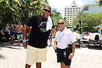 MIAMI BEACH, FL - JUNE 21: Omar Benson Miller poses for a picture with city of Miami beach police officer during DJ Irie Weekend-IWX - BBQ Beach Bash Pool Party at National Hotel on Saturday June 21, 2014 in Miami Beach, Florida. (Photo by Johnny Louis/jlnphotography.com)