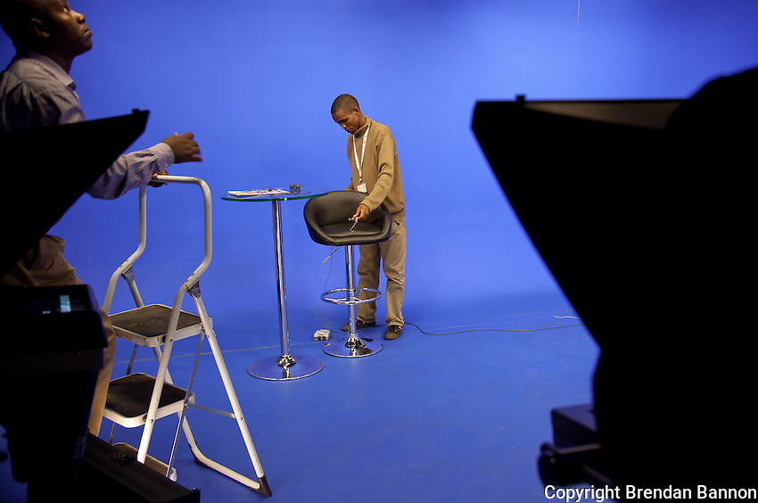 The studio at NTV being prepared for the 1p.m. newscast anchored by Peninah Karibe on the day senior Kenyans appeared at the International Criminal Court on charges related to 2007 post-election violence.