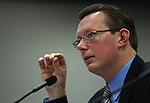 Nevada Sen. Ben Kieckhefer, R-Reno, testifies in committee at the Legislature, in Carson City, Nev., on Wednesday, March 23, 2011.  Kieckhefer presented a measure that would update the base year for the state budget cap to account for fluctuations in population and revenues. .Photo by Cathleen Allison