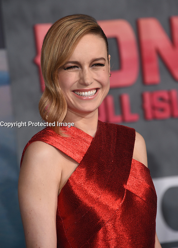 Brie Larson @ the Los Angeles premiere of 'Kong: Skull Island' held @ the Dolby theatre.<br /> March 8, 2017 , Hollywood, USA. # PREMIERE DU FILM 'KONG : SKULL ISLAND' A LOS ANGELES