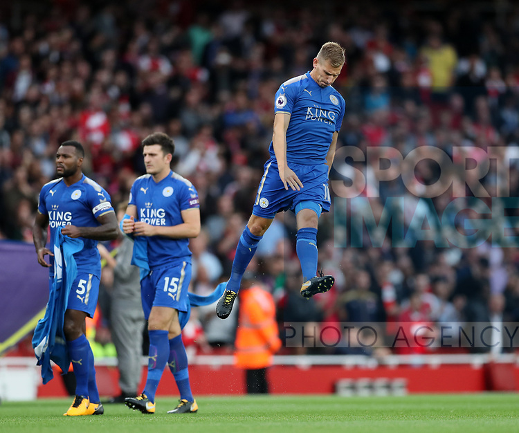 Leicester's Marc Albrighton jumps up during the premier league match at the Emirates Stadium, London. Picture date 11th August 2017. Picture credit should read: David Klein/Sportimage
