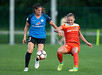Kansas City, MO - Sunday July 02, 2017:  Cami Privett crosses the ball in front of Brittany Taylor during a regular season National Women's Soccer League (NWSL) match between FC Kansas City and the Houston Dash at Children's Mercy Victory Field.